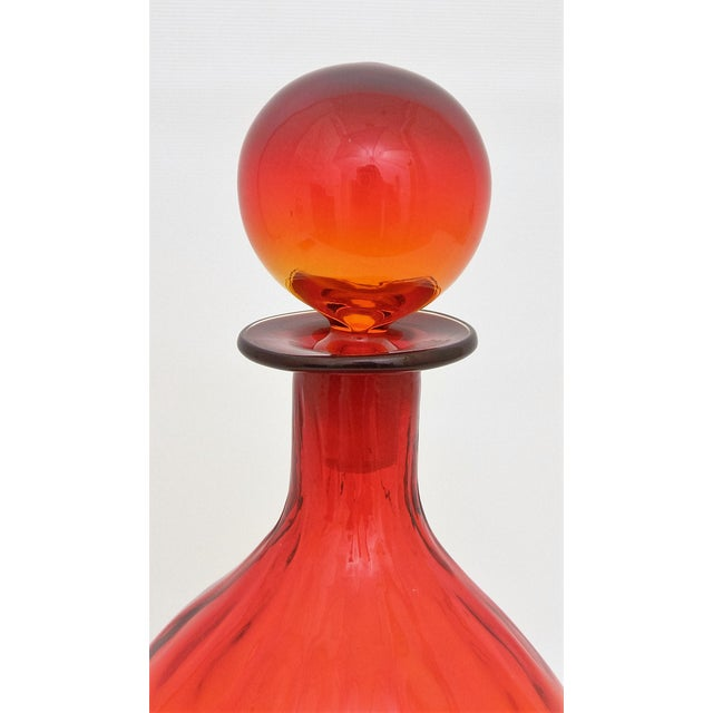 Mid-Century Blenko Amberina Glass Decanter For Sale - Image 5 of 11