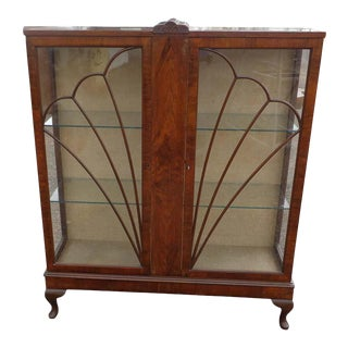 1920s Art Deco Glass Display Bookcase For Sale