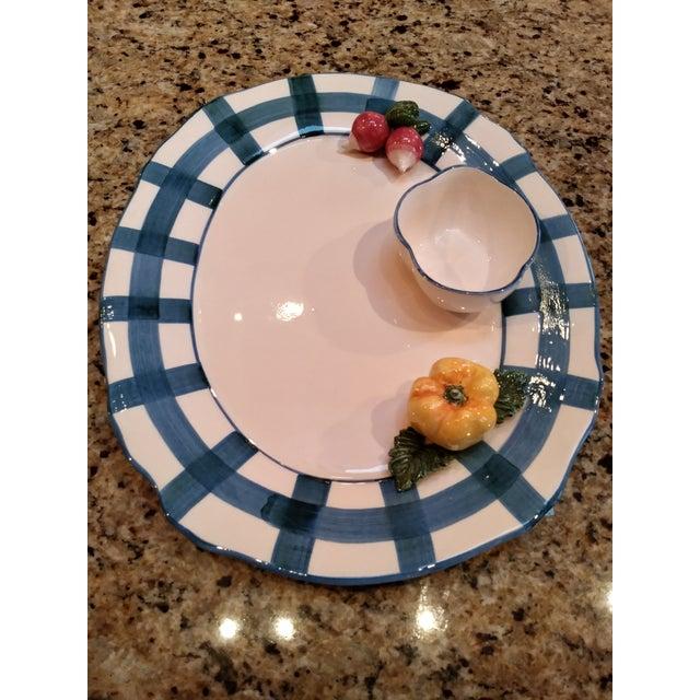 Majolica Italian Trompe L´oile Scalloped Serving Platter For Sale - Image 4 of 13