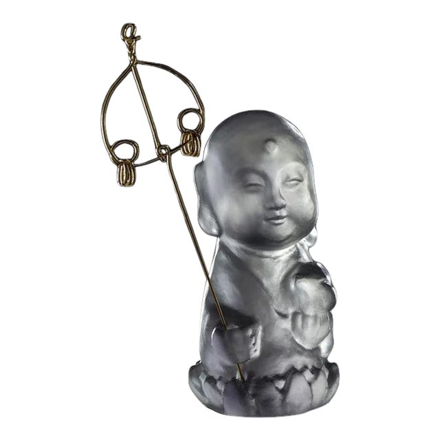 """Crystal Buddha, """"Joyous and Worry-Free, Healthy, Happy"""" in Dark Grey For Sale"""