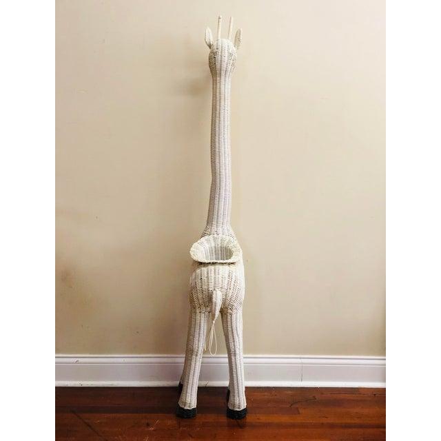 Vintage White Wicker Giraffe Planter For Sale - Image 4 of 12
