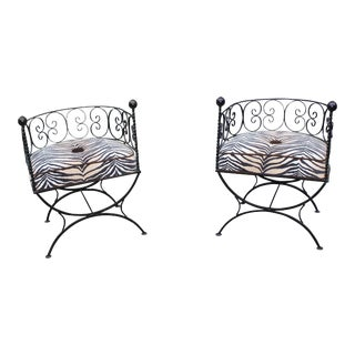 Wrought Iron Barrel Back Chairs - a Pair For Sale