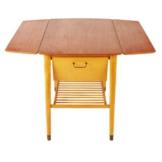 Custom Small Teak Drop-Leaf Table With Wine Storage Preview