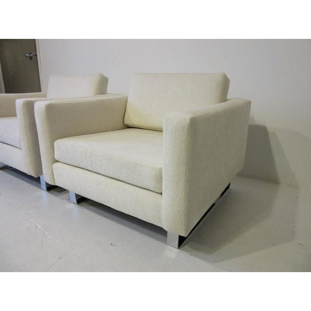 1970s Upholstered Club Lounge Chairs - a pair For Sale In Cincinnati - Image 6 of 9