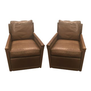 Lee Leather Swivel Relaxor Chairs in Stadler Toffee Leather - A Pair For Sale