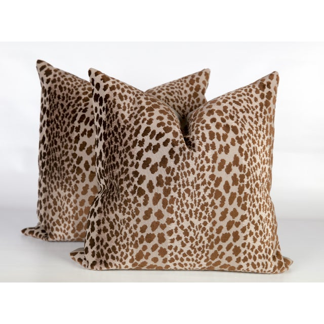 Chocolate Velvet Cheetah Pillows - A Pair - Image 2 of 5