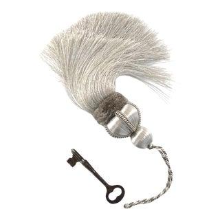 """Single Silver Key Tassel W Velvet Ruche - Tassel Height 5.75"""" For Sale"""