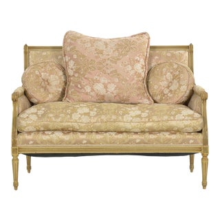 French Louis XVI Style Carved Beech White Painted Antique Sofa Settee Loveseat For Sale