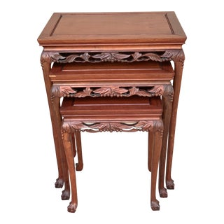 Vintage Hand Carved Rosewood Nesting Tables - Set of 3 For Sale