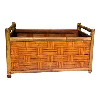 Vintage Handmade Woven Reed Cane & Rattan Basket For Sale