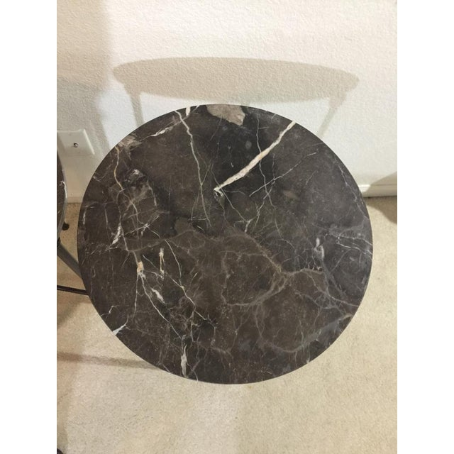 Mid 20th Century Mid Century Modern Black Metal and Black Marble Round Accent Tables - a Pair For Sale - Image 5 of 7