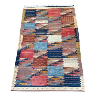 Moroccan Wool Flat Weave Zanafi Tribal Rug-6 X 10' For Sale