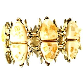 "Coro Mid-Century Gold, Lucite Confetti ""Scarab"" Link Bracelet For Sale"