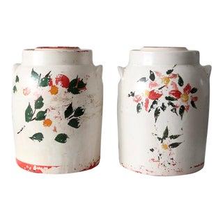 Vintage Stoneware Cookie Jars - Set of 2 For Sale