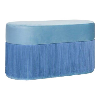 Pouf Pill Large Blue in Velvet Upholstery With Fringes For Sale