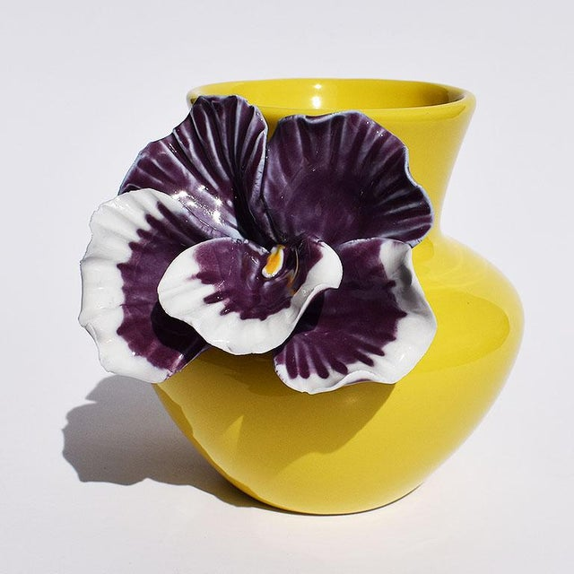 Mid 20th Century Yellow and Purple Abstract Ceramic Vase with Affixed Floral Orchid For Sale - Image 5 of 7