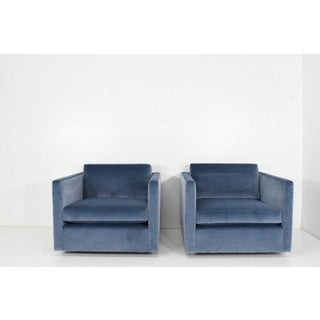 Knoll Charles Pfister Chairs in Velvet & Ottoman - 3 Pieces Preview