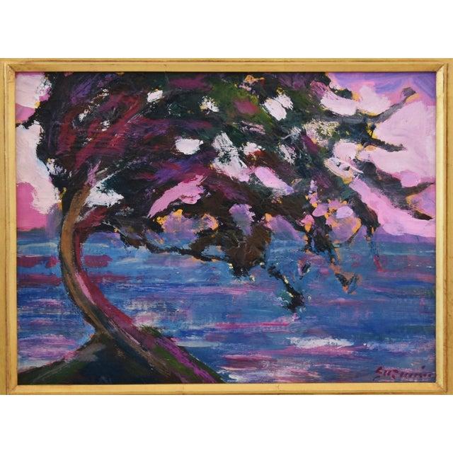 "Impressionist landscape seascape on artist canvas panel by California artist Juan ""Pepe"" Guzman-Maldonado (Chile b.1948)..."