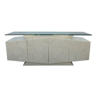 Cream and Gray Lacquer 80's Style Postmodern Glass Top Credenza For Sale