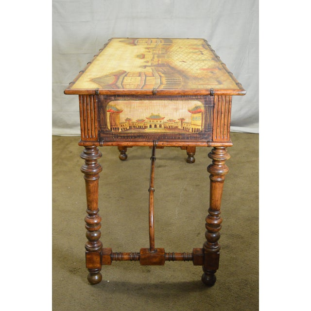 Chinese Hand Painted Large Faux Bamboo Hall Table or Sideboard For Sale - Image 10 of 11