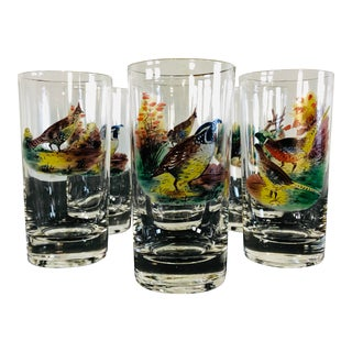 1960s Pheasant Drinking Glass Tumblers, Set of 6 For Sale