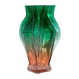 1980s Toni Zuccheri for Venini Green and Orange Murano Glass Vase For Sale