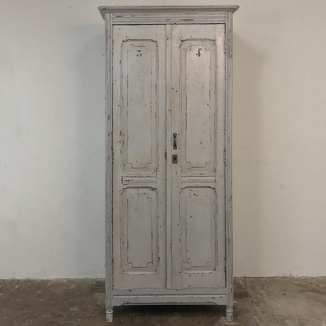 Pair Antique Painted Wooden Locker Cabinets For Sale - Image 11 of 13