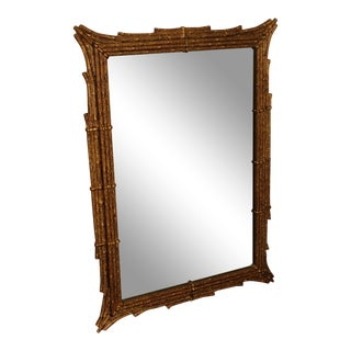 Friedman Brothers Kowloon Gold Gilt Wood Faux Bamboo Carved Wall Mirror For Sale