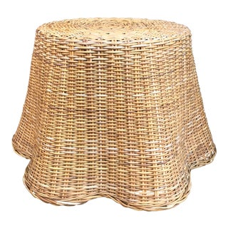 Vintage Trompe L'oeil Draped Wicker Table For Sale