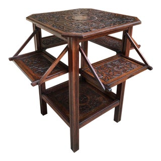 1900s English Traditional Carved Oak Side Drop Leaf End Table For Sale