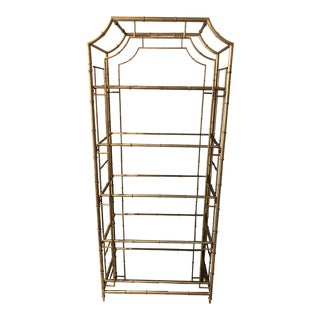 Golden Metal Faux Bamboo Etagere With Mirror Shelves For Sale