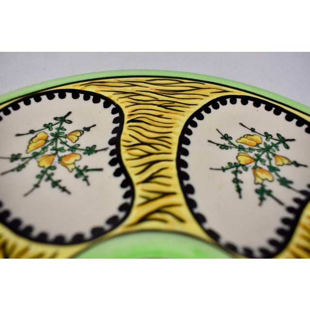 French French Faïence Fouillen Quimper Floral Oyster Plate For Sale - Image 3 of 7