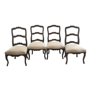 Louis XV 19th Century Carved Hoof Feet French Walnut Dining Chairs -Set of 4 For Sale