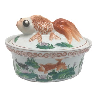 Vintage Chinoiserie Covered Dish With Coy Fish For Sale