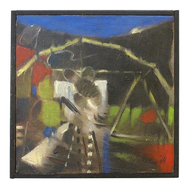 Vintage Jerome Walker, Abstract Oil on Canvas, Framed For Sale
