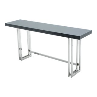 Italian Mid-Century Black Lacquer Chrome Extending Console Table For Sale
