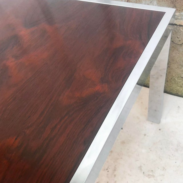 Vintage Modern Rosewood and Chrome Coffee Table For Sale - Image 11 of 13