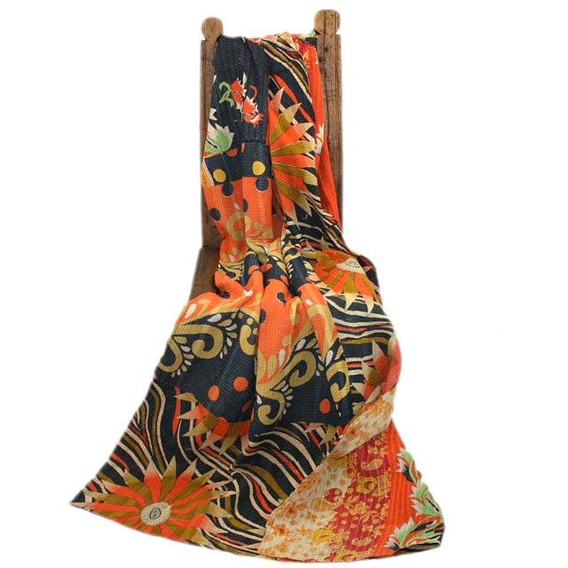 Vintage Mod Orange & Navy Kantha Quilt - Image 2 of 2
