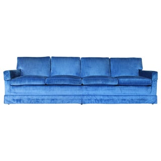 Blue Velvet Four Seat Sofa For Sale