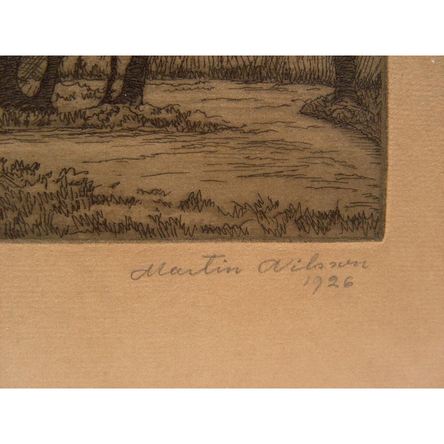 """Etching of a quiet forest, signed and dated 1926 in pencil lower margin. Unframed, image size 6""""L x 4""""H. Age toning."""