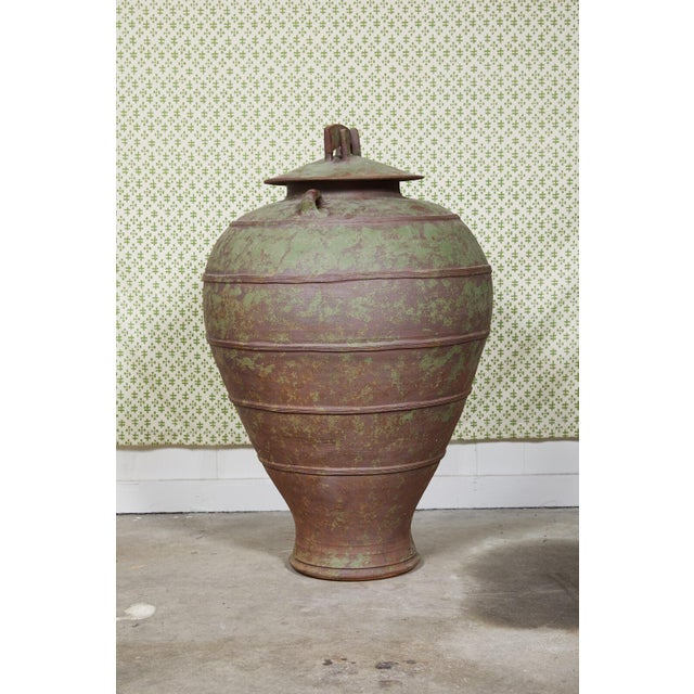 Urn Shaped Clay Jar With Lid, Stamped For Sale - Image 4 of 10