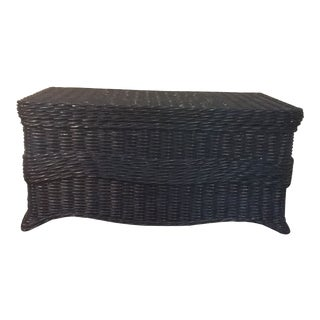 1900s Americana Navy Blue Wicker and Wood Trunk