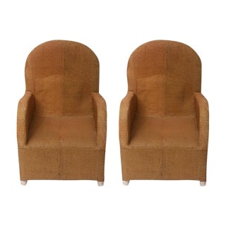 African Gold Beaded Chairs - a Pair For Sale