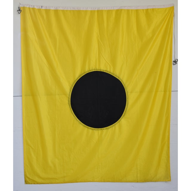 "Mid 20th Century Large Vintage Maritime Nautical Naval Signal ""I"" Flag - 67"" X 55"" For Sale - Image 5 of 6"
