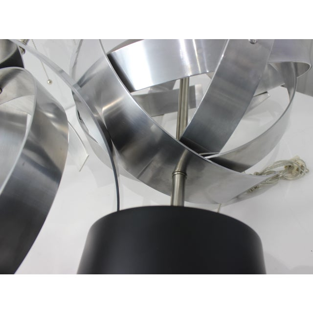Vintage Modern Armillary Style Stainless Steel Table Lamps - the Pair For Sale - Image 12 of 13
