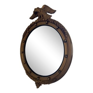 Early 20th Century Federal Eagle Wood & Gilded Convex Mirror For Sale