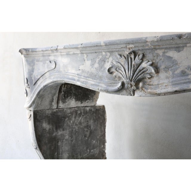 19th Century Antique Gray Marble Stone Fireplace, 19th Century, Louis XV For Sale - Image 5 of 7