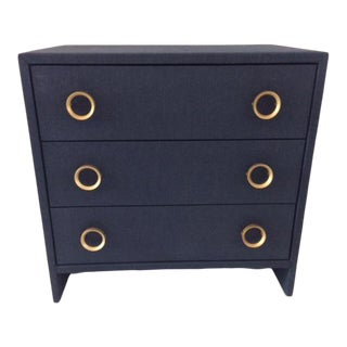 Contemporary Todd Hase Three Drawer Burlap Wrapped Chest For Sale