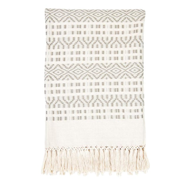 Ecru & Cream Handwoven Chiapas Throw - Image 1 of 5