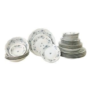 "Johann Haviland German Porcelain & Platinum ""Blue Garland"" Dinnerware - Set of 30"